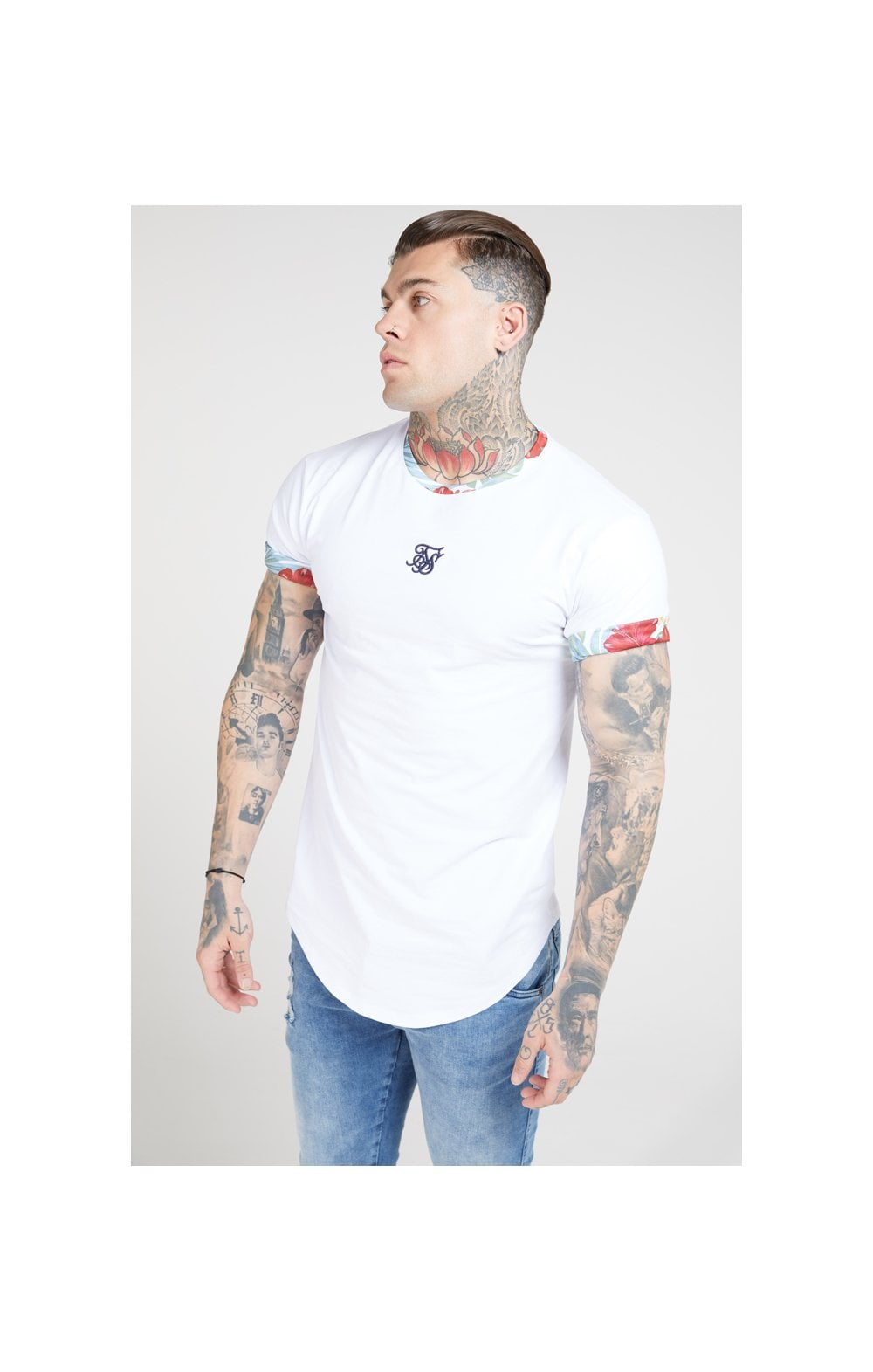 SikSilk S/S Curved Hem Roll Sleeve Tee – White (5)