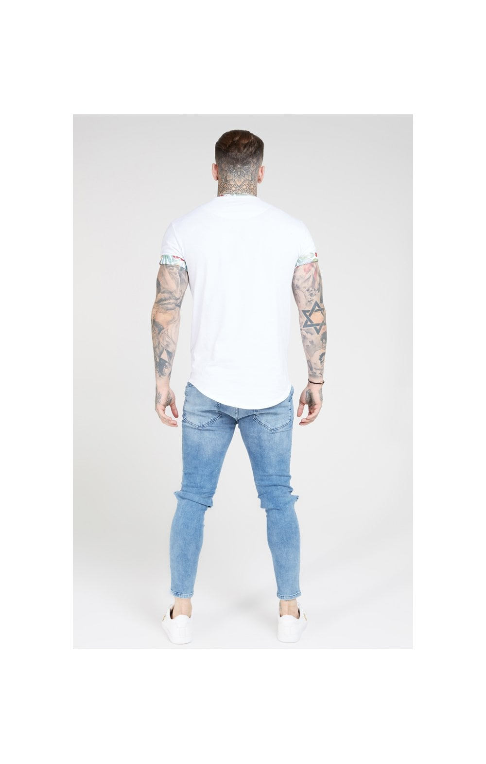 SikSilk S/S Curved Hem Roll Sleeve Tee – White (6)