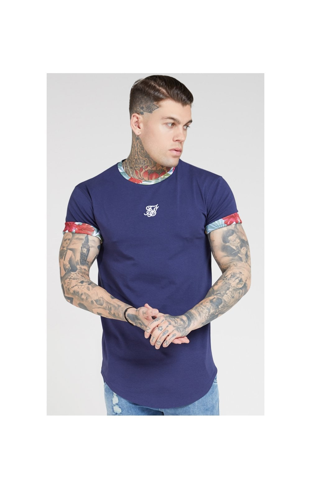 Charger l'image dans la galerie, SikSilk S/S Curved Hem Roll Sleeve Tee – Navy
