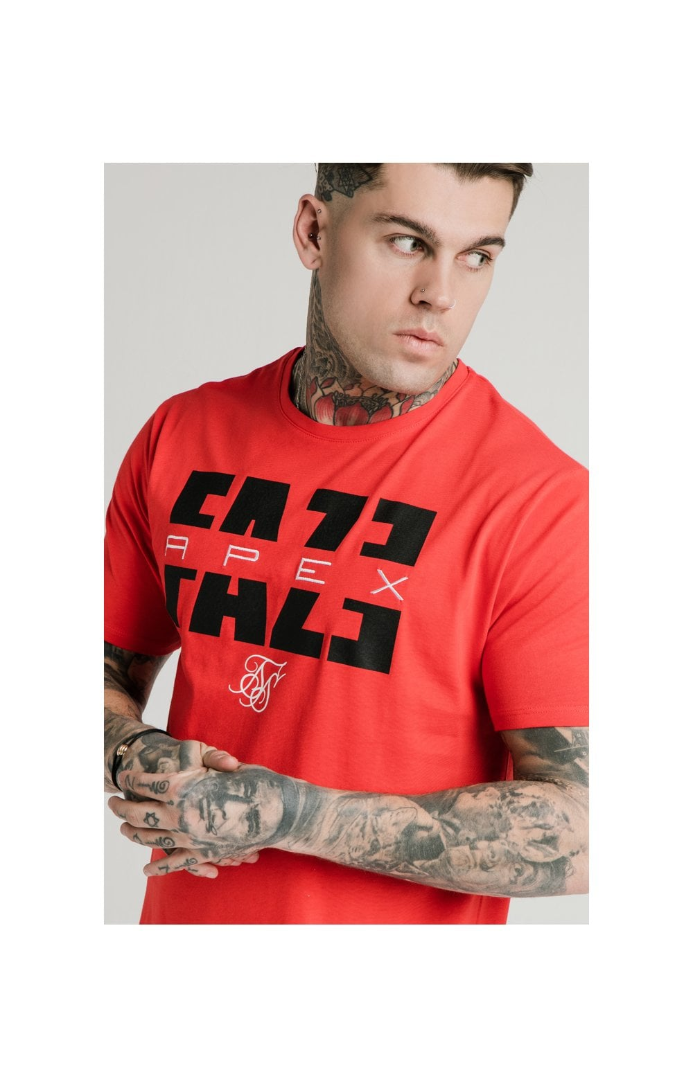SikSilk x FaZe Apex T-Shirt à Ourlet Carré - Rouge
