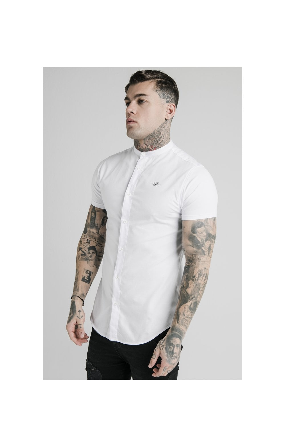 SikSilk S/S Grandad Collar Shirt – White