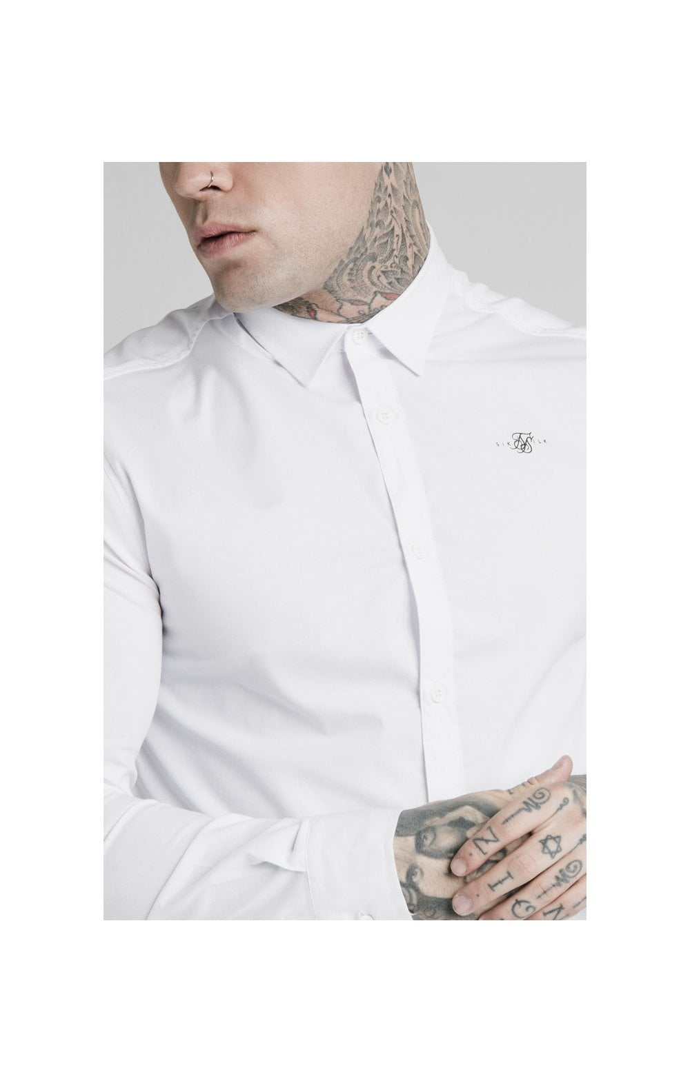 SikSilk L/S Standard Collar Shirt - White (1)