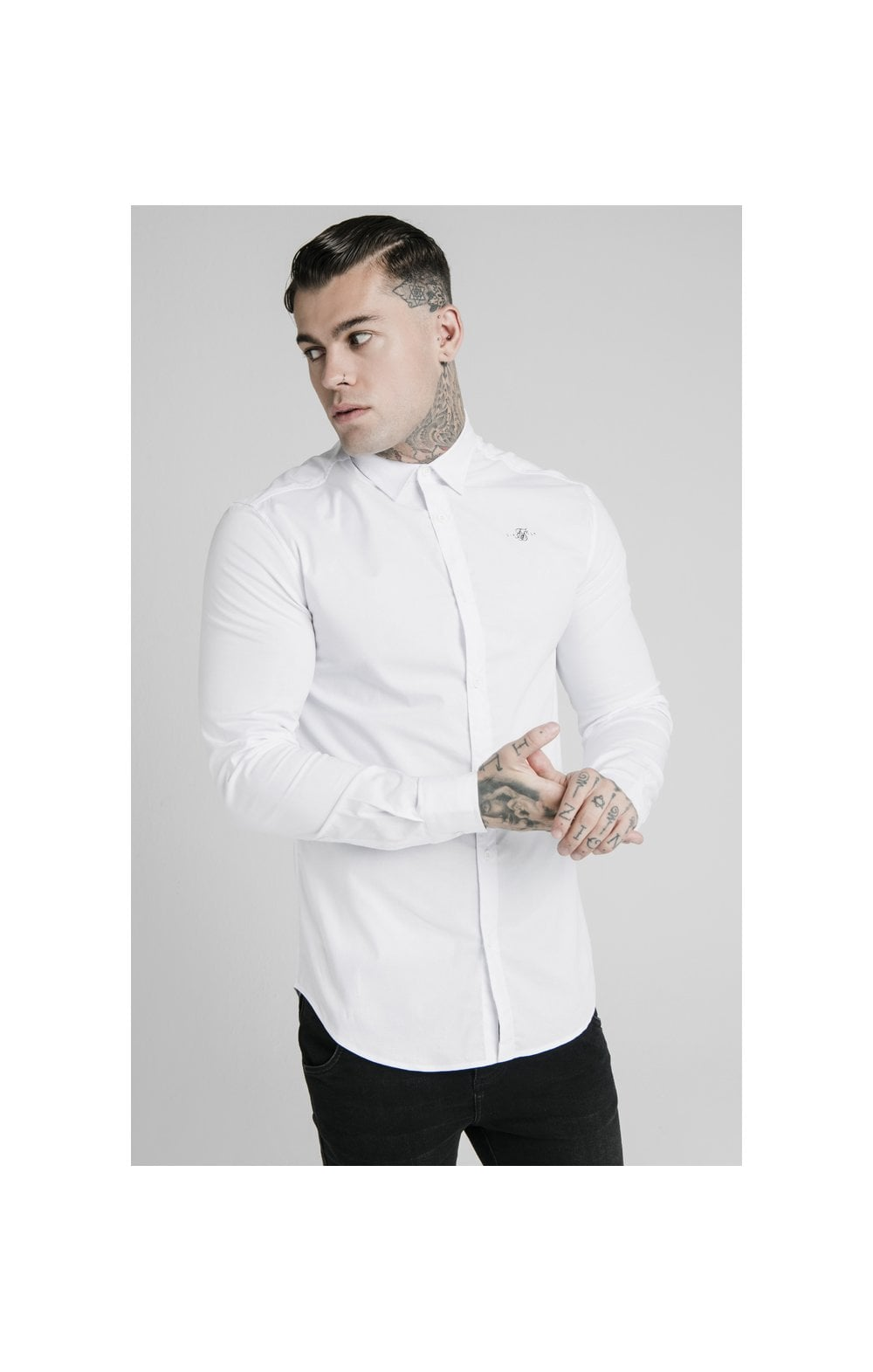 SikSilk L/S Standard Collar Shirt - White