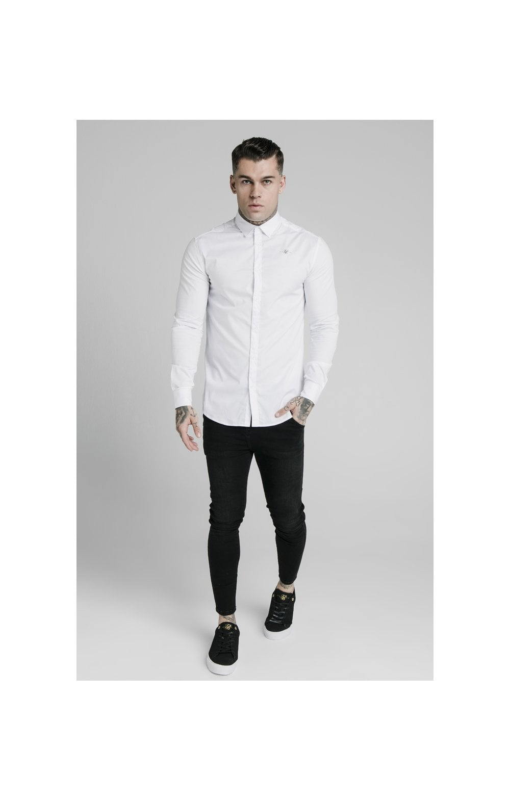SikSilk L/S Standard Collar Shirt - White (2)