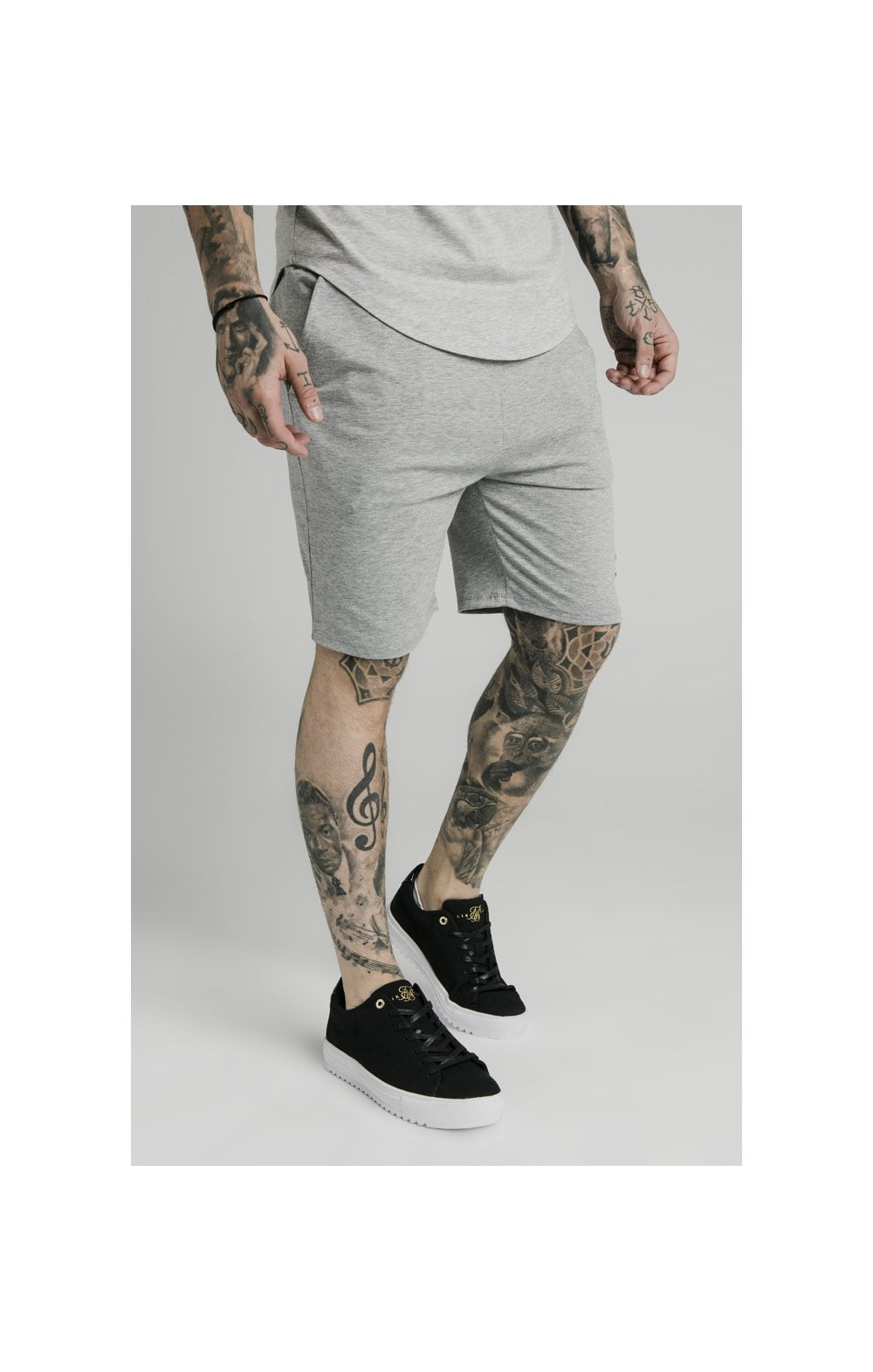 SikSilk Jersey Shorts - Grey Marl (2)
