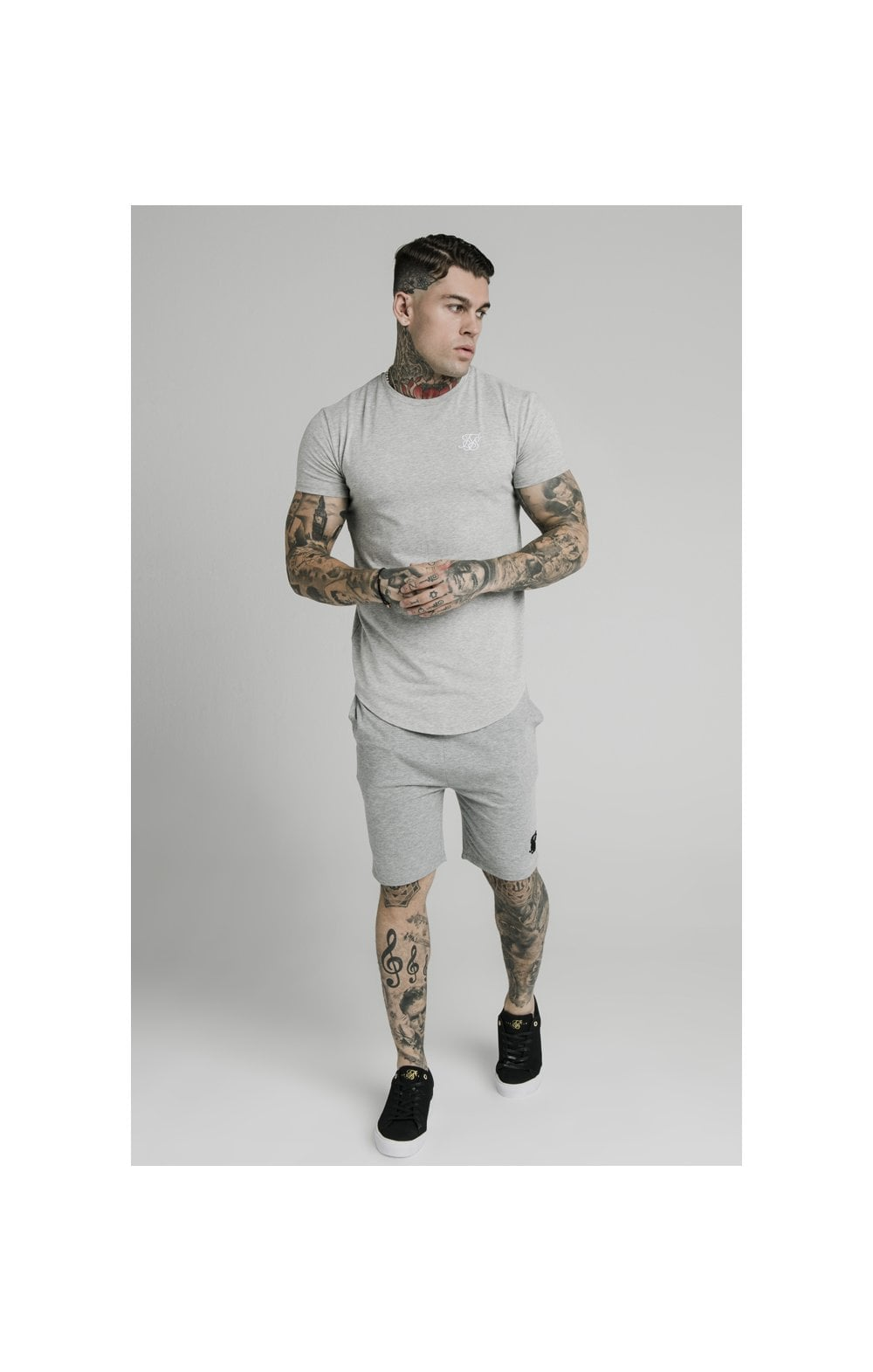 SikSilk Jersey Shorts - Grey Marl (4)