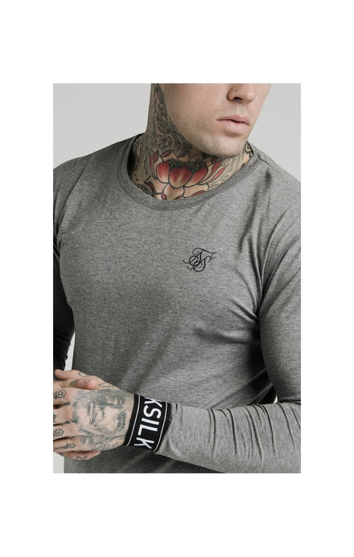 SikSilk L/S Lounge Tee – Grey Marl