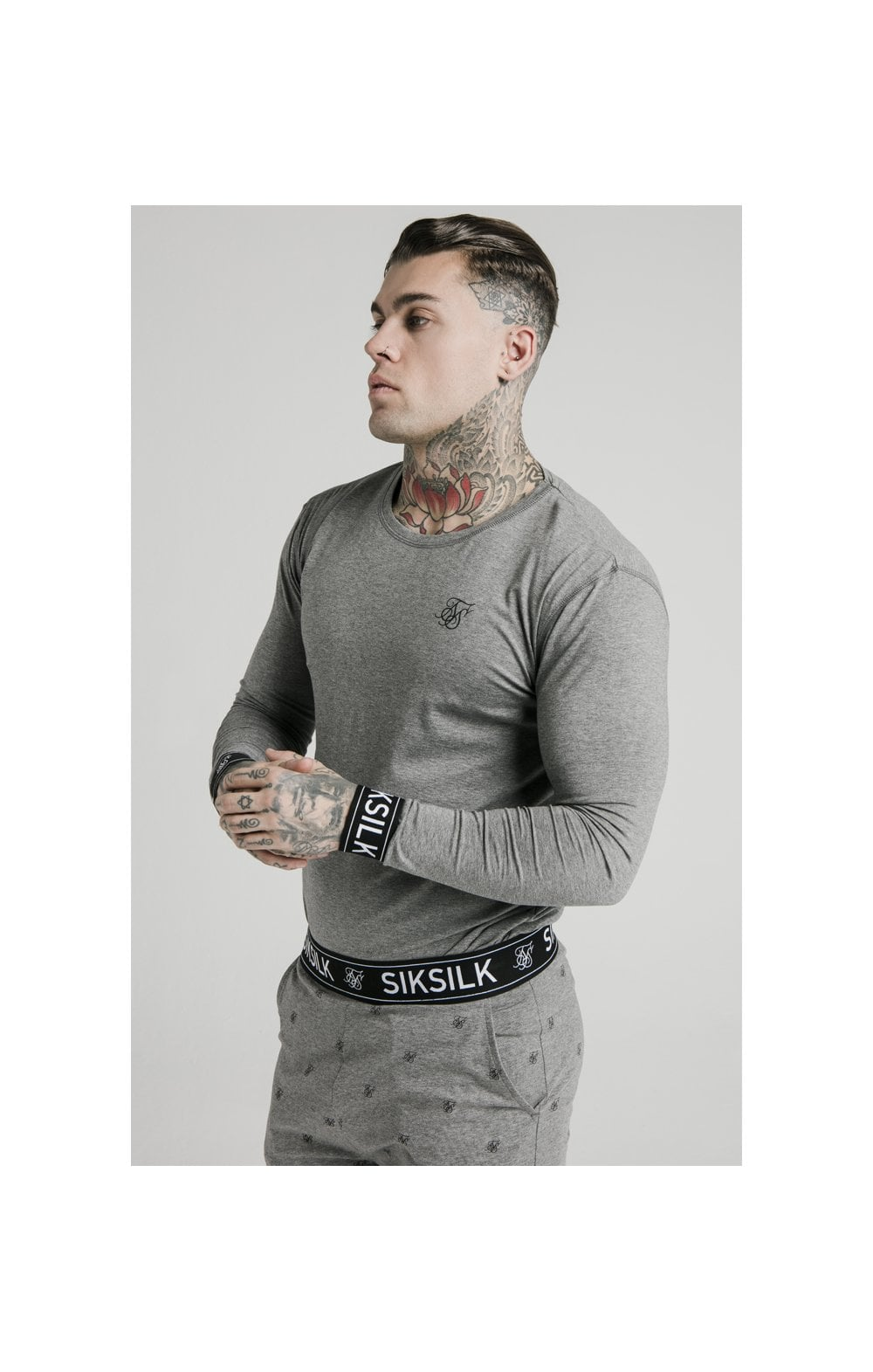 SikSilk L/S Lounge Tee – Grey Marl (1)