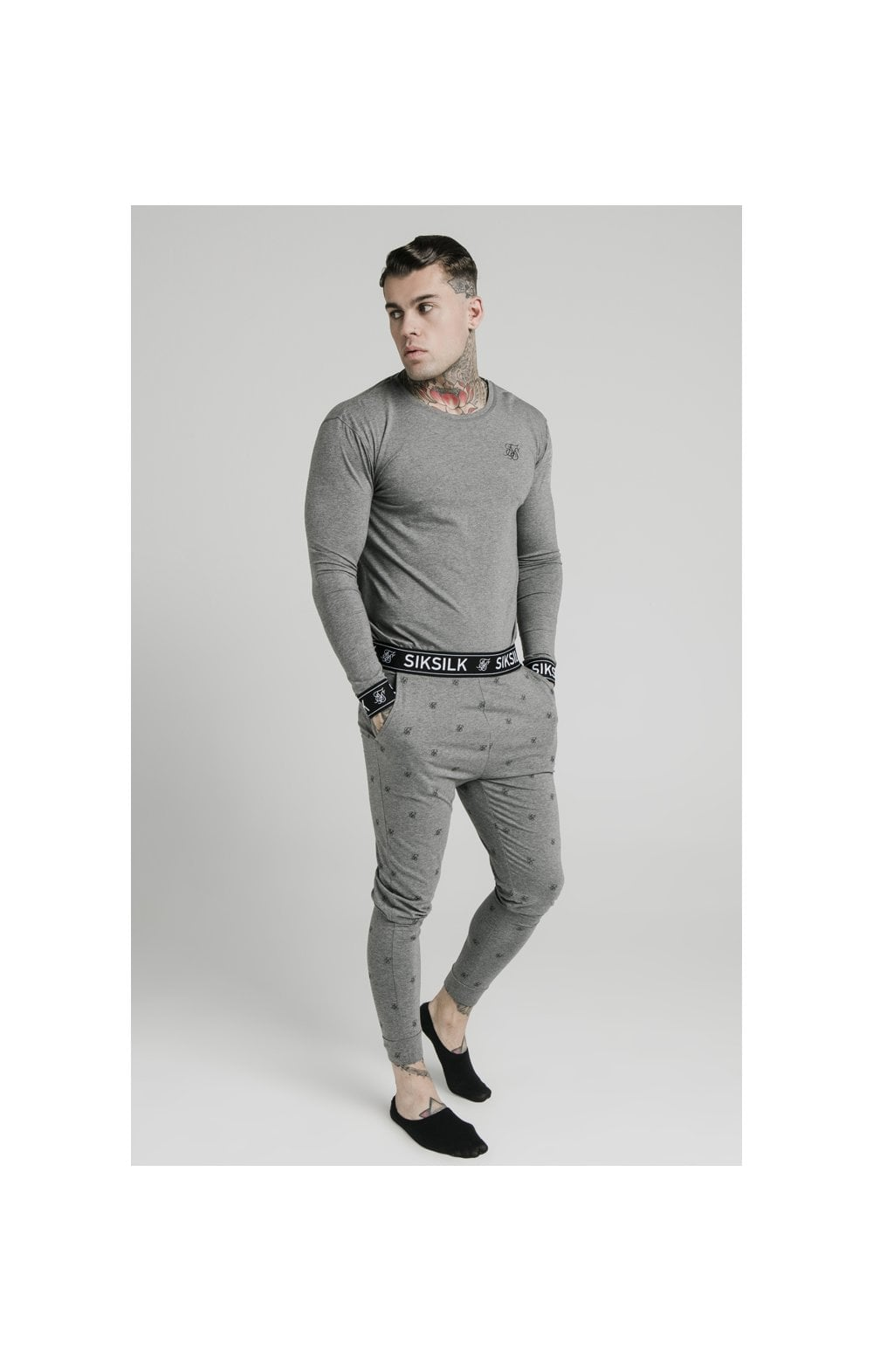 SikSilk L/S Lounge Tee – Grey Marl (2)