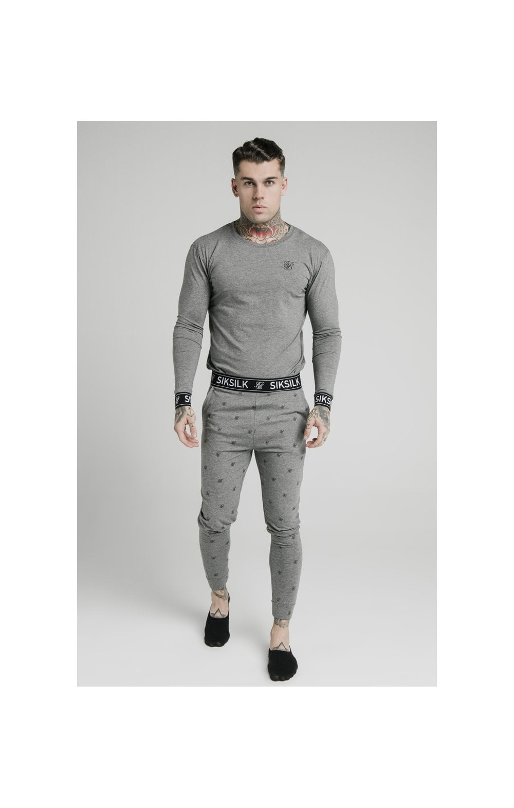 SikSilk L/S Lounge Tee – Grey Marl (3)