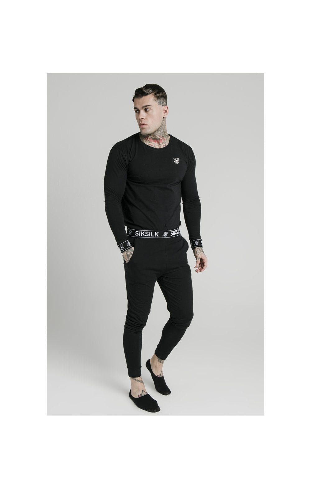 SikSilk L/S Lounge Tee – Black (1)