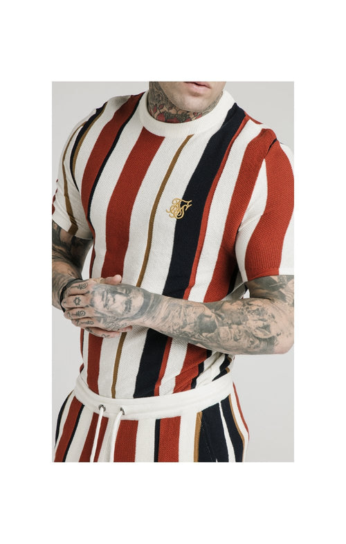 SikSilk Fitted Knit Tee – Off White, Navy & Red