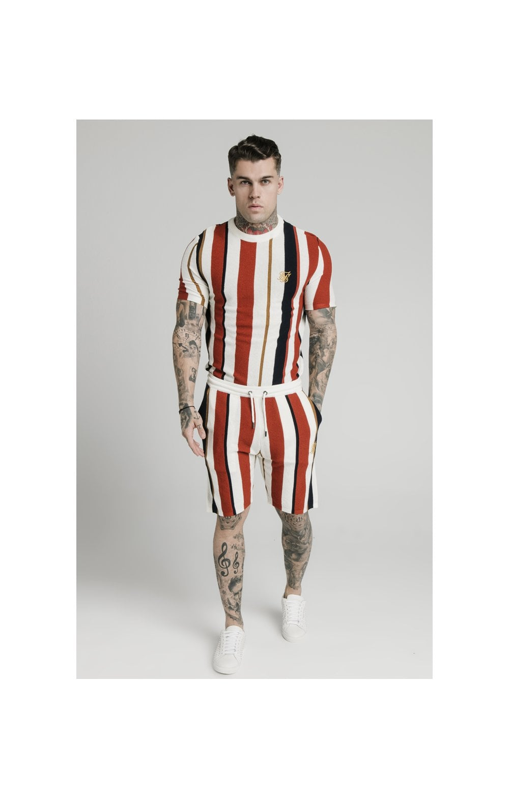 SikSilk Fitted Knit Shorts – Off White, Navy & Red (5)