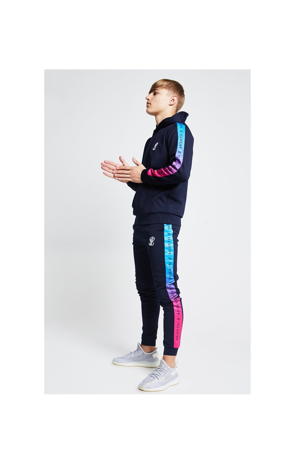 Illusive London Fade Panel Overhead Hoodie - Navy Blue & Pink (1)