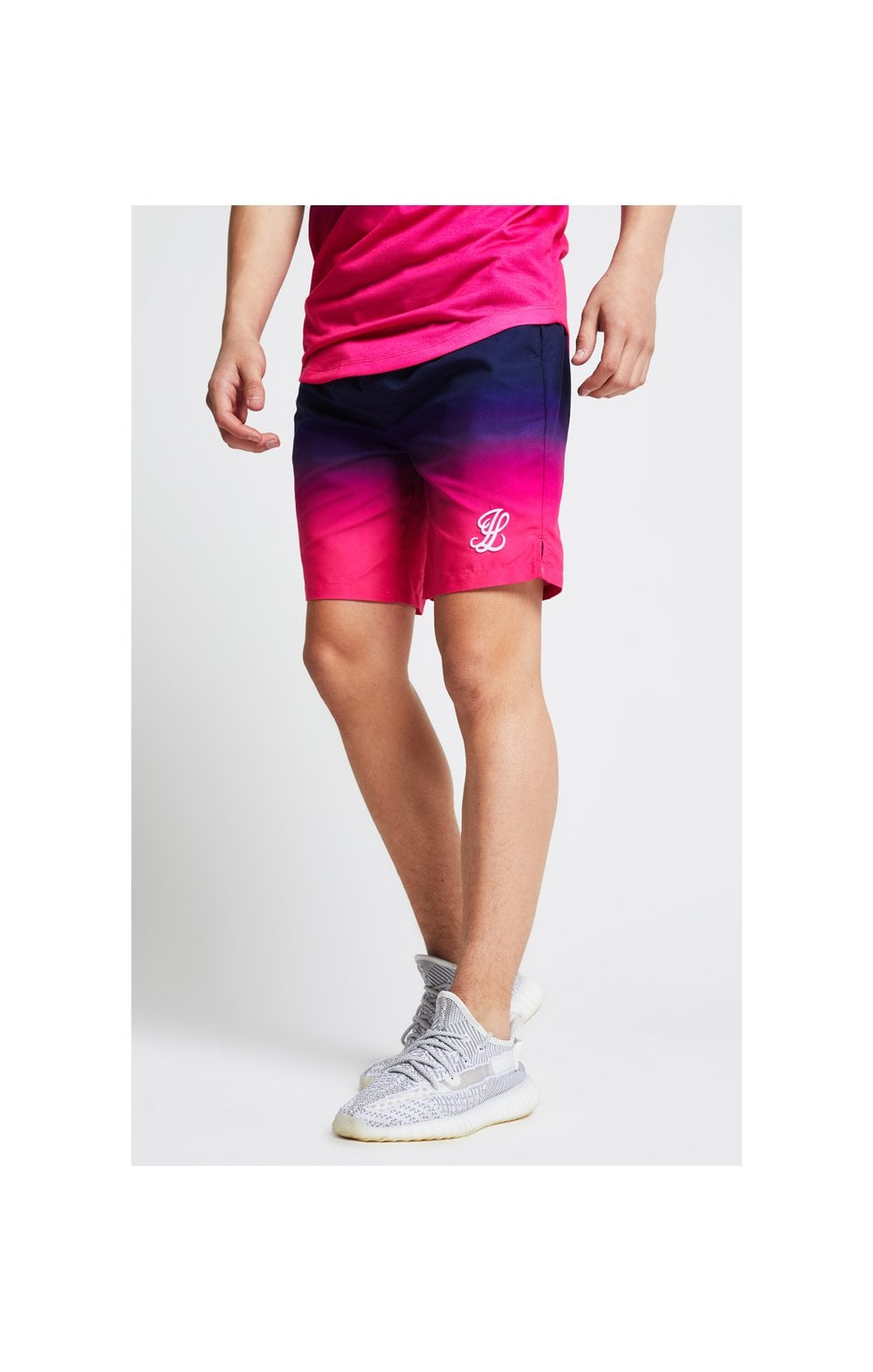 Illusive London Fade Swim Shorts - Navy & Pink