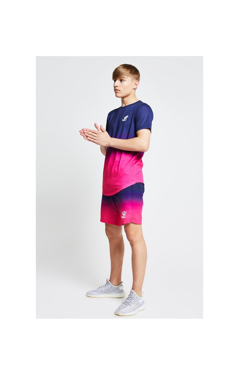 Illusive London Fade Swim Shorts - Navy & Pink (1)
