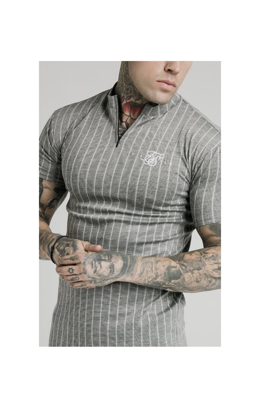 Charger l'image dans la galerie, SikSilk High Collar Zip Polo - Grey Pin Stripe