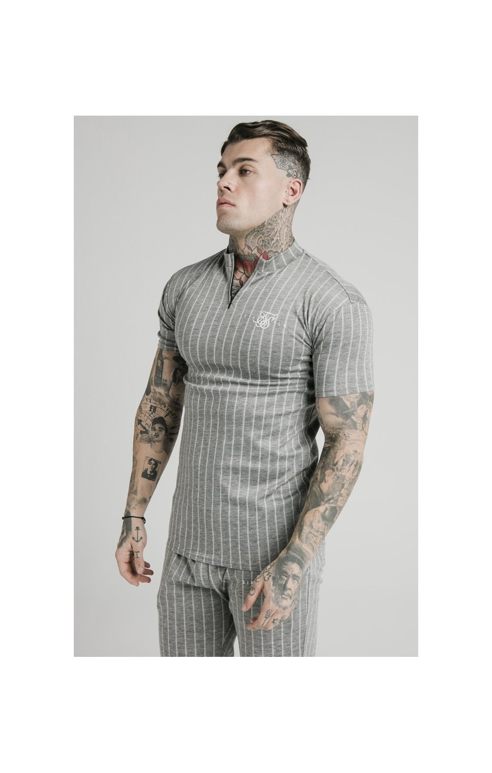 Charger l'image dans la galerie, SikSilk High Collar Zip Polo - Grey Pin Stripe (1)