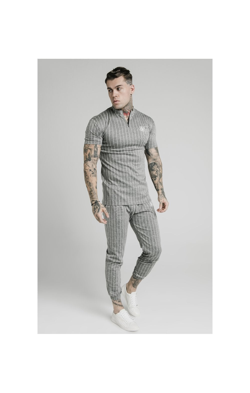 Charger l'image dans la galerie, SikSilk High Collar Zip Polo - Grey Pin Stripe (2)