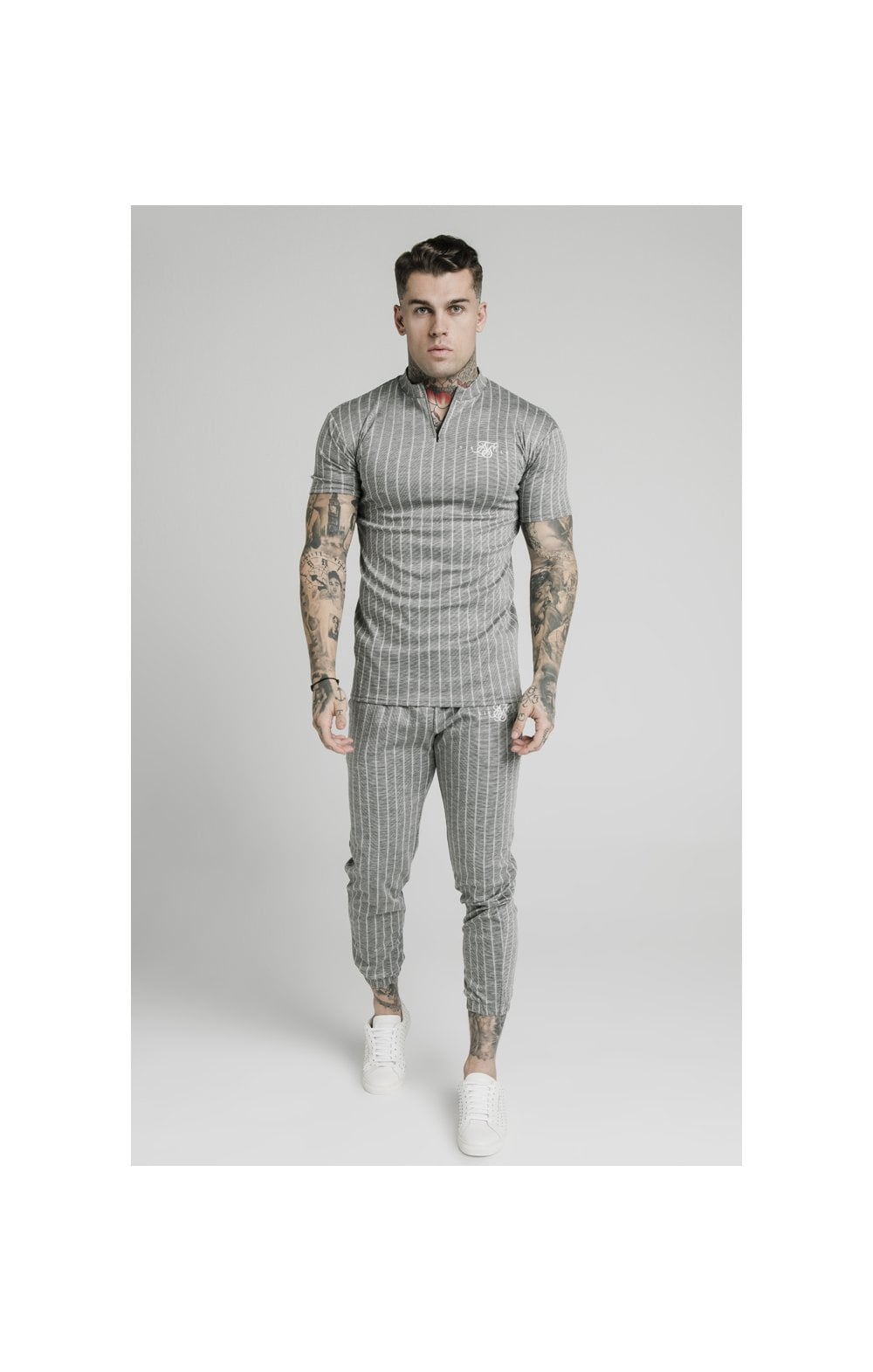 Charger l'image dans la galerie, SikSilk High Collar Zip Polo - Grey Pin Stripe (3)