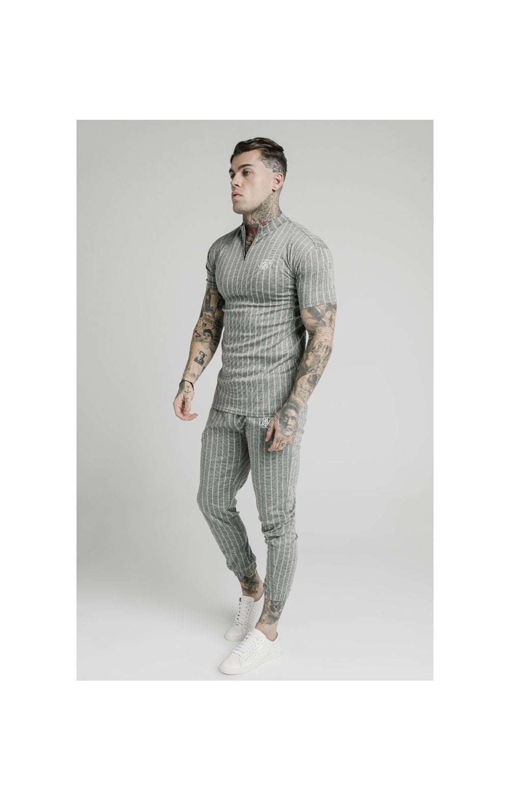 Charger l'image dans la galerie, SikSilk High Collar Zip Polo - Grey Pin Stripe (4)