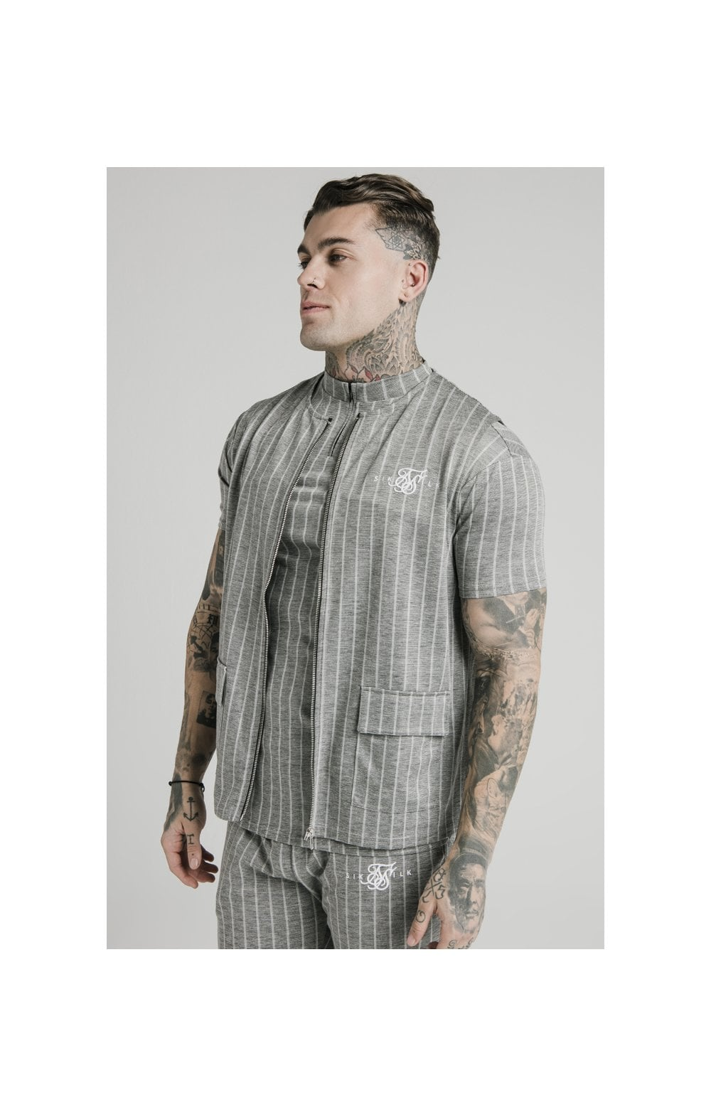 SikSilk Smart Wear Vest - Grey Pin Stripe (1)