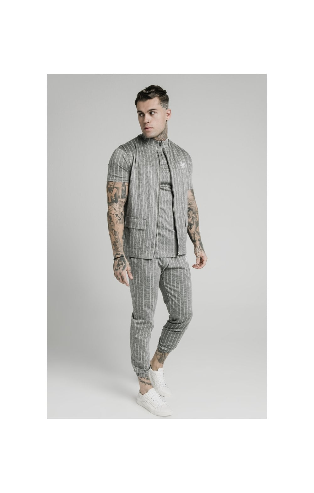 SikSilk Smart Wear Vest - Grey Pin Stripe (2)