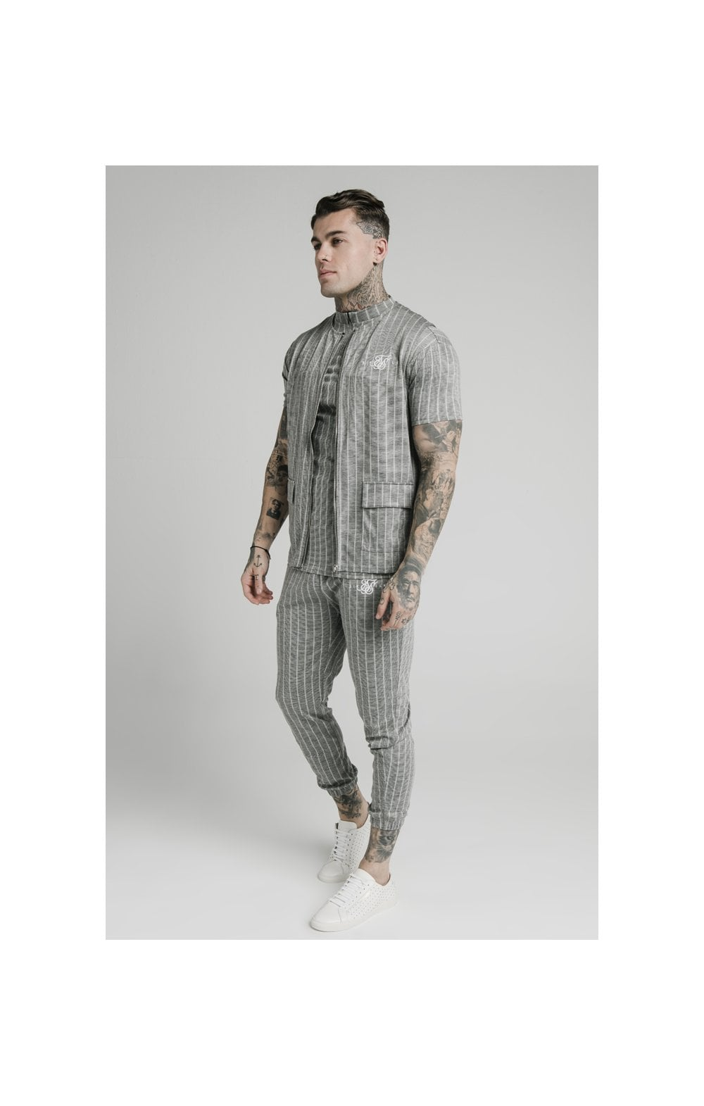SikSilk Smart Wear Vest - Grey Pin Stripe (3)