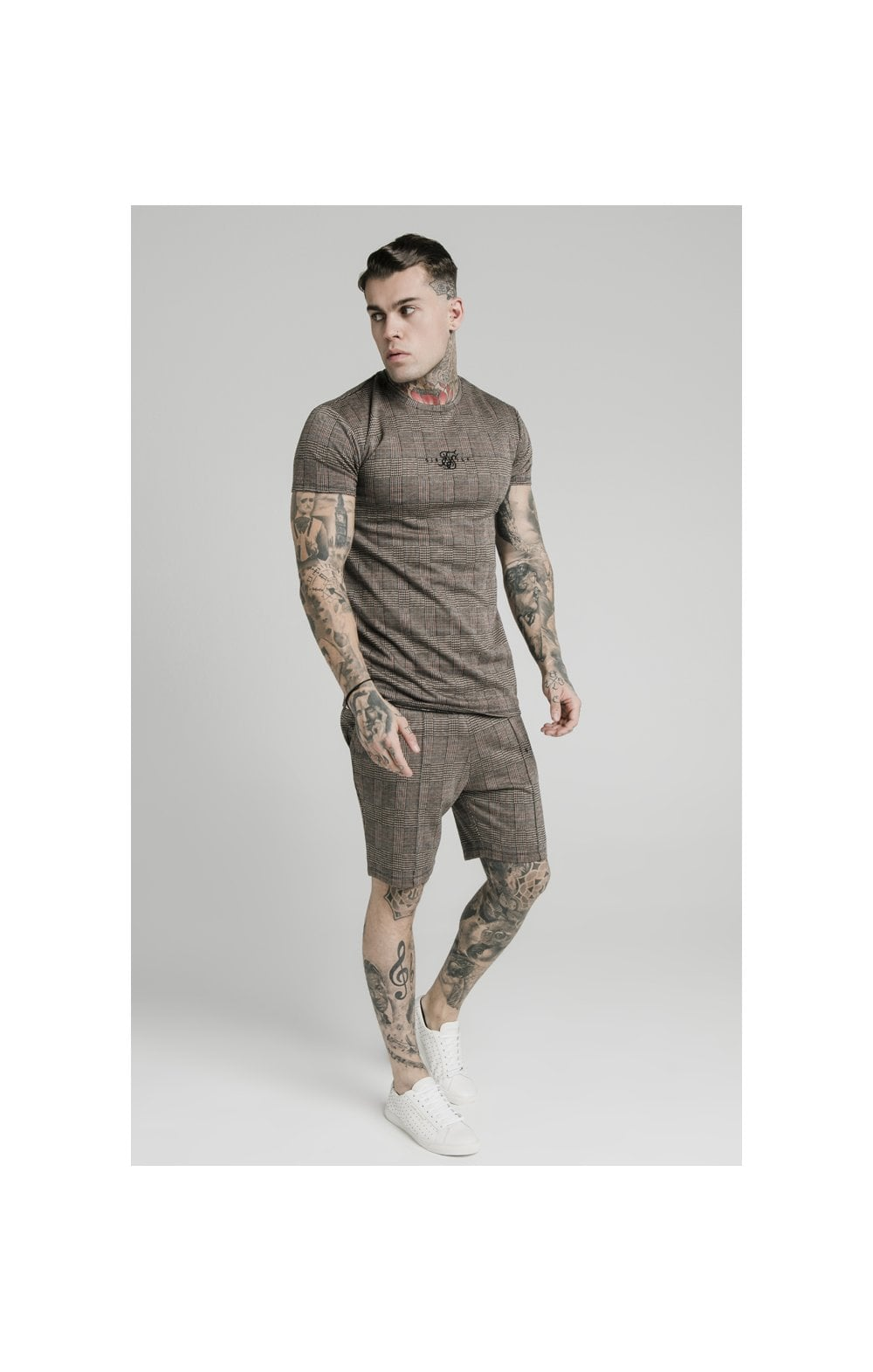 SikSilk S/S Smart Gym Tee – Brown Dogtooth (1)