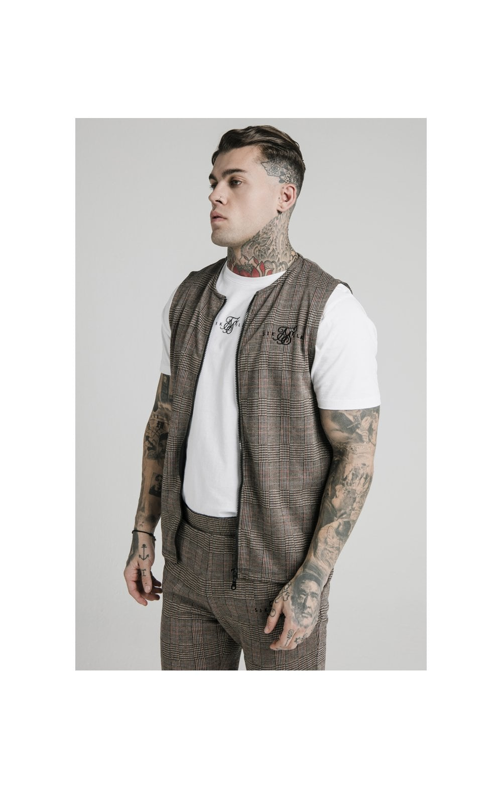SikSilk Smart Wear Vest - Brown Dogtooth (1)
