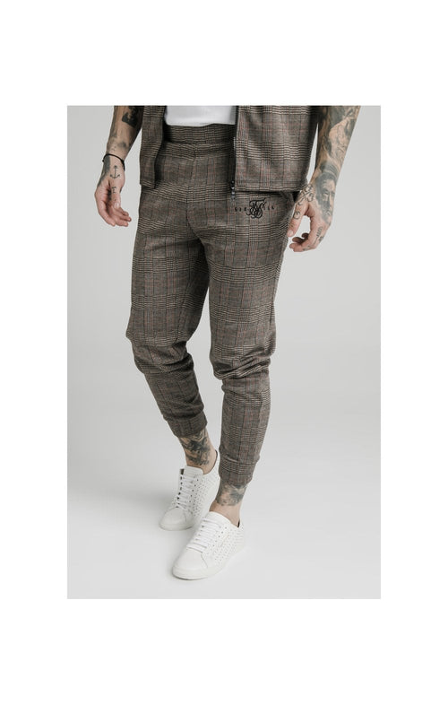 SikSilk Smart Cuff Pants - Brown Dogtooth