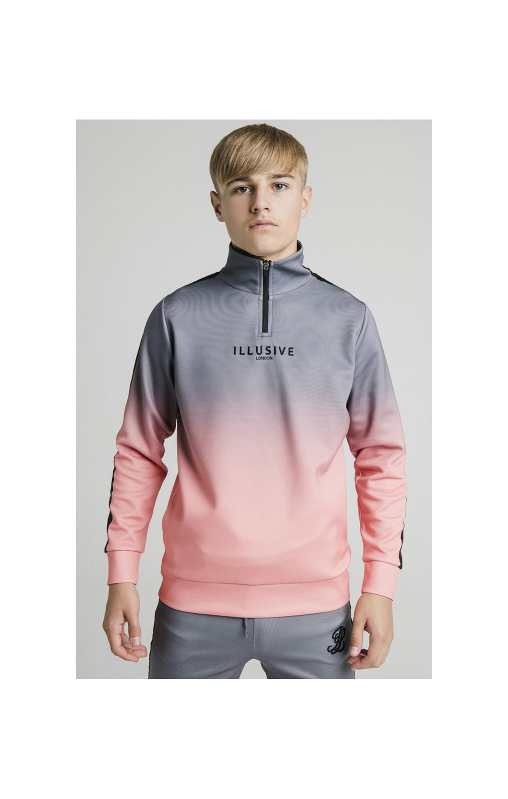 Illusive London 1/4 Zip Fade Hoodie - Grey & Peach