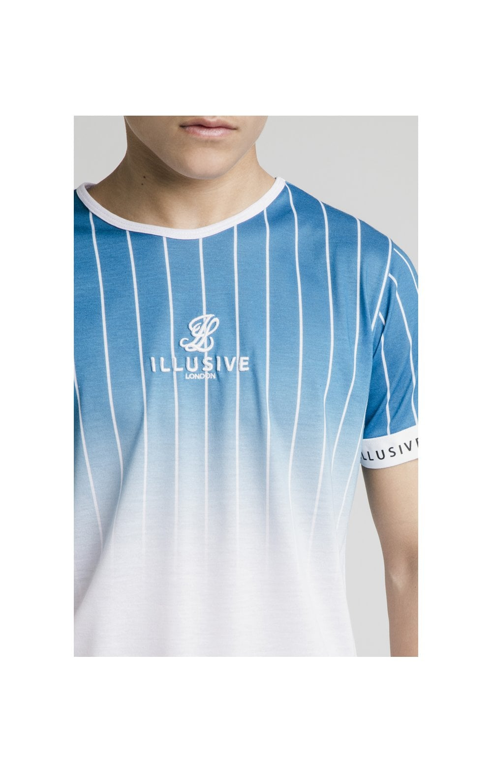 Illusive London Fade Stripe Tech Tee - Teal & White (1)
