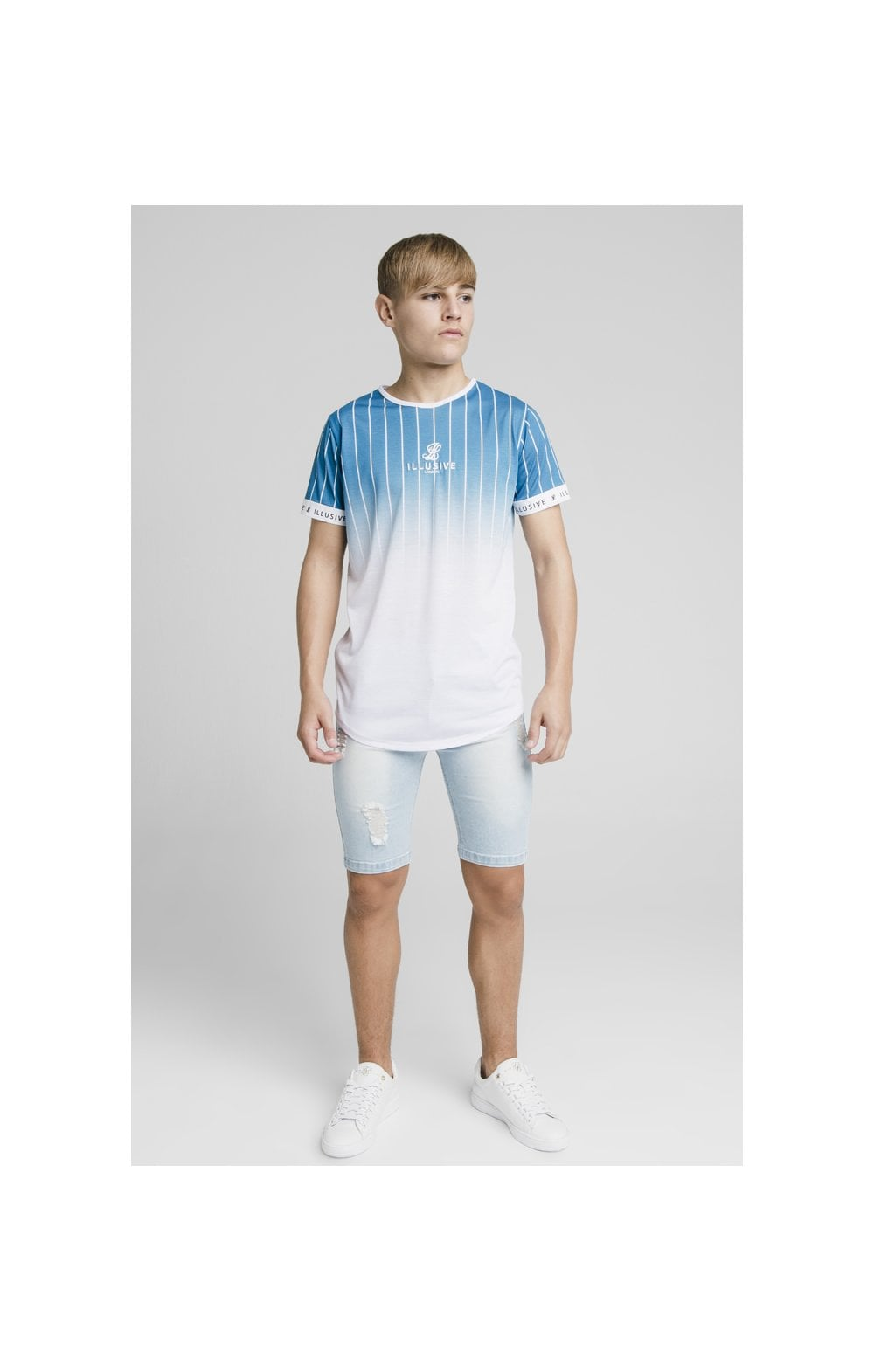 Illusive London Fade Stripe Tech Tee - Teal & White (3)