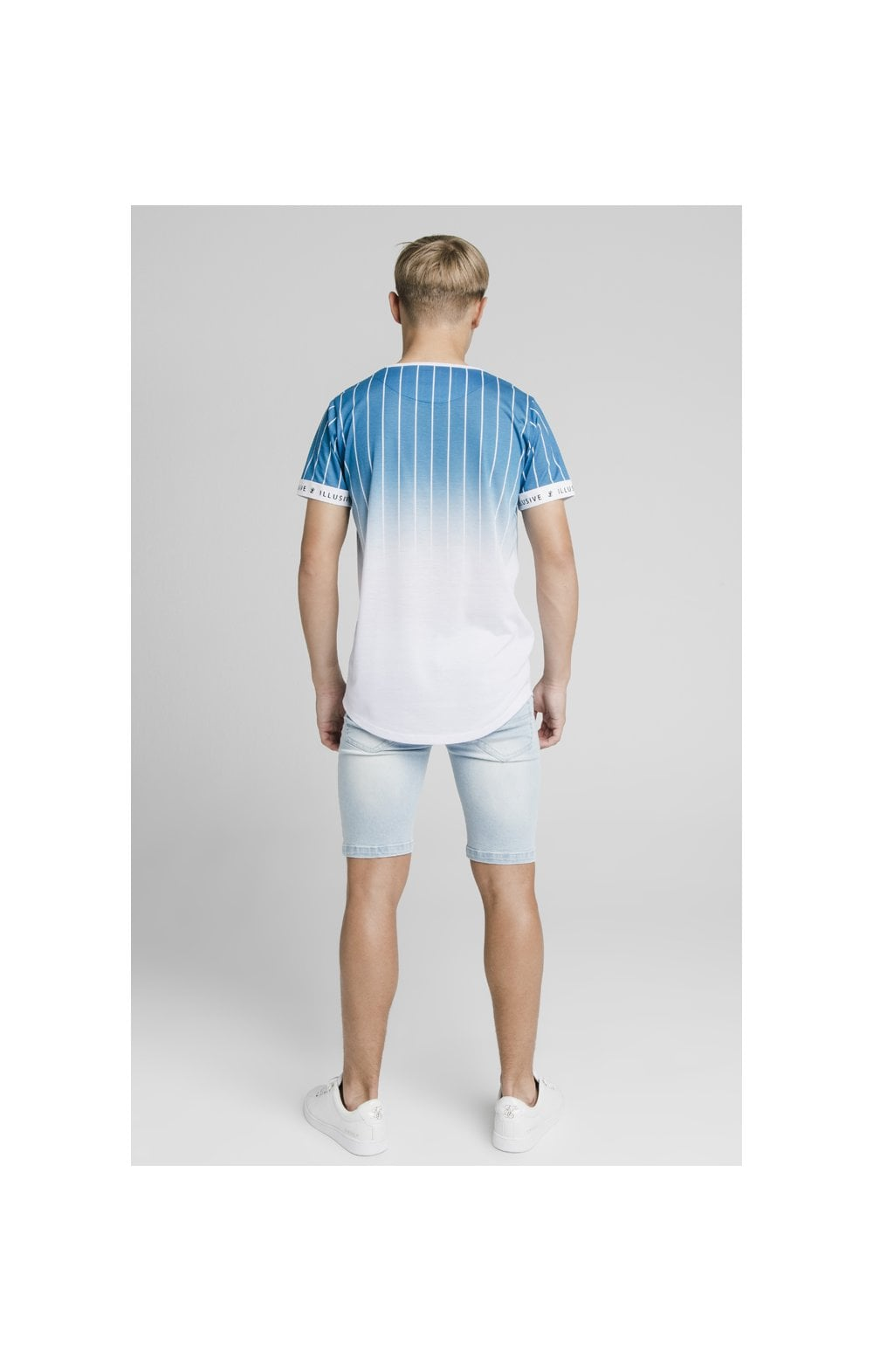 Illusive London Fade Stripe Tech Tee - Teal & White (4)