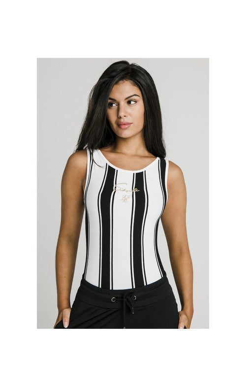 SikSilk Athena Stripe Bodysuit - Black & White