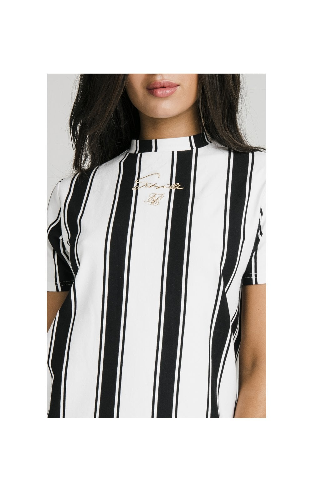 SikSilk Athena Stripe T-Shirt Dress - Black & White (1)