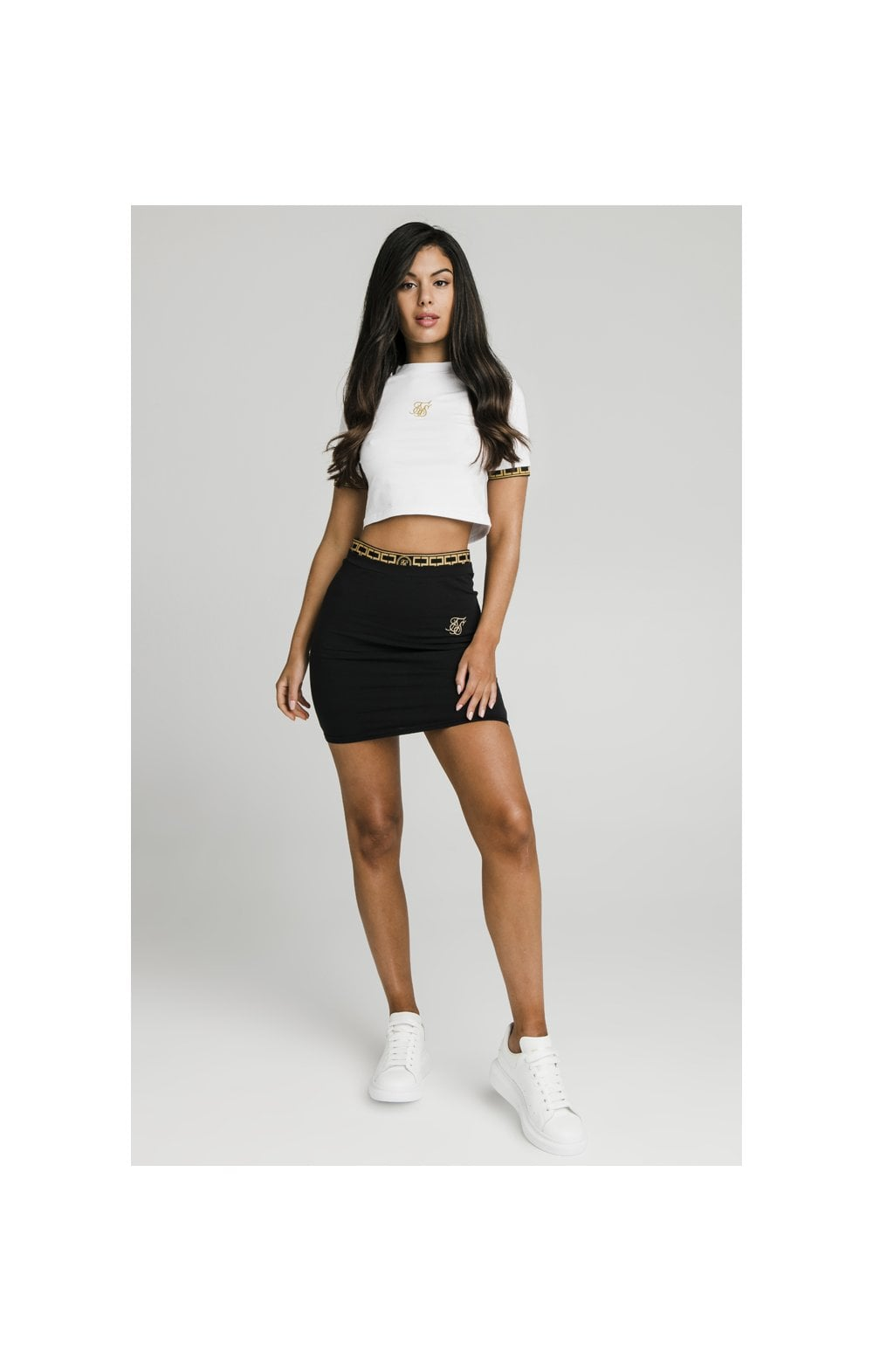 Charger l'image dans la galerie, SikSilk Athena Cuff Crop Tee - White (1)