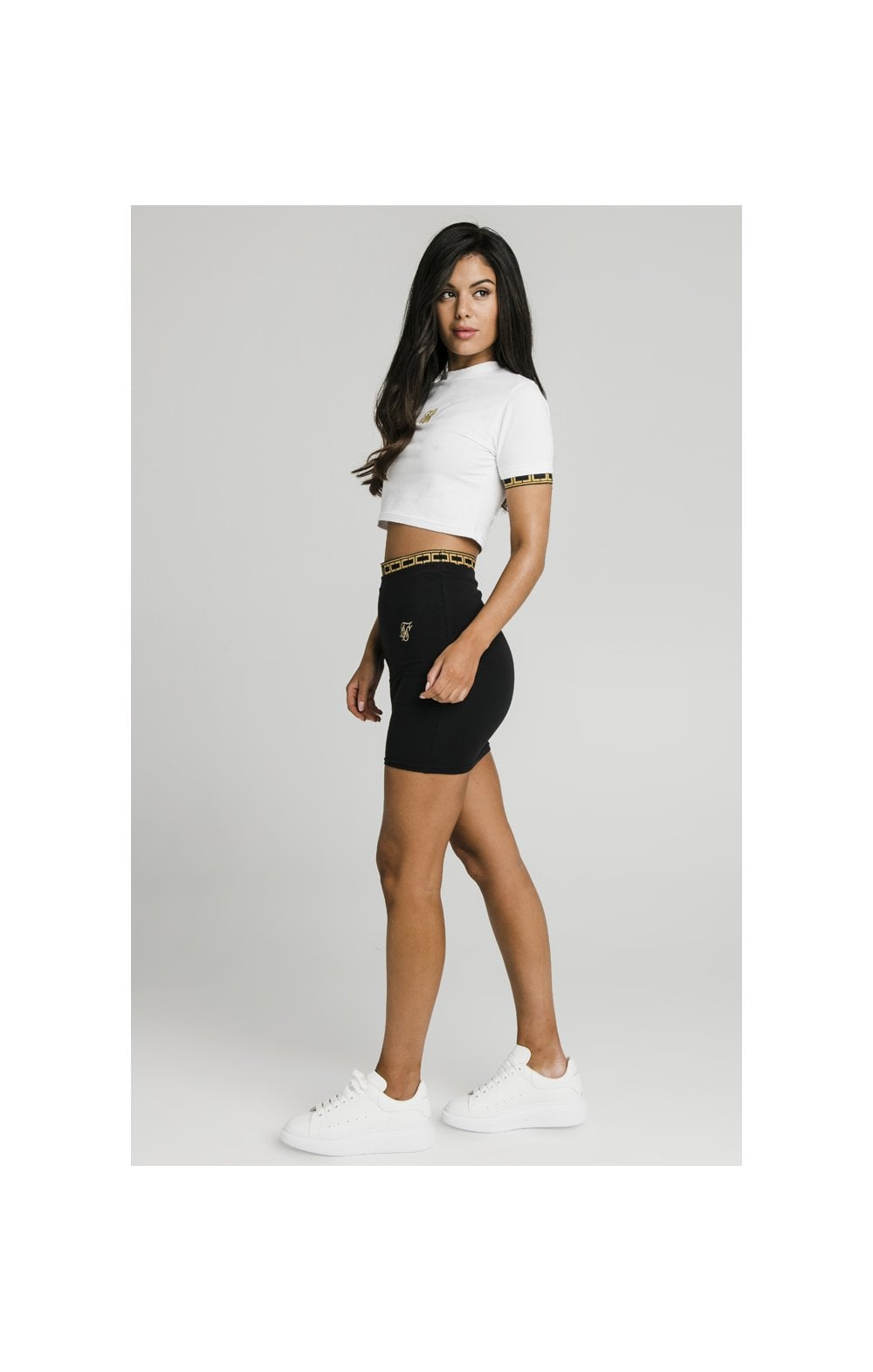 Charger l'image dans la galerie, SikSilk Athena Cuff Crop Tee - White (2)