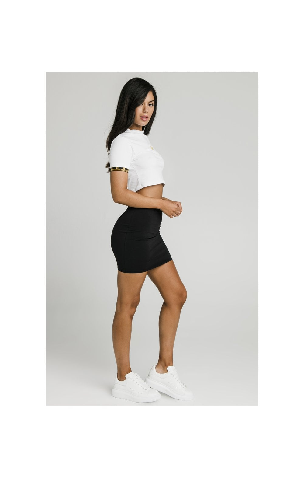 Charger l'image dans la galerie, SikSilk Athena Cuff Crop Tee - White (3)