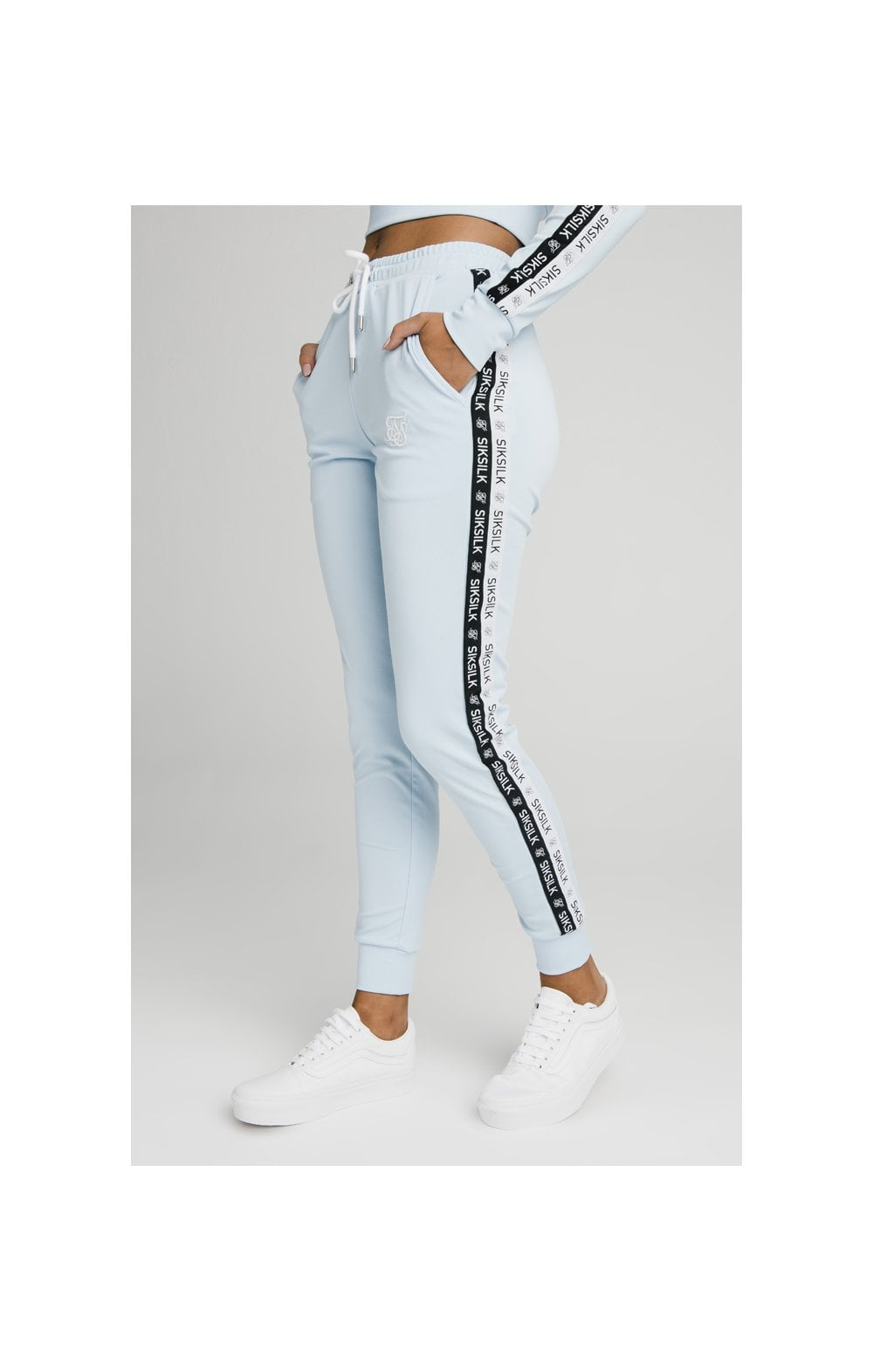 SikSilk Sky Tape Track Pants - Light Blue