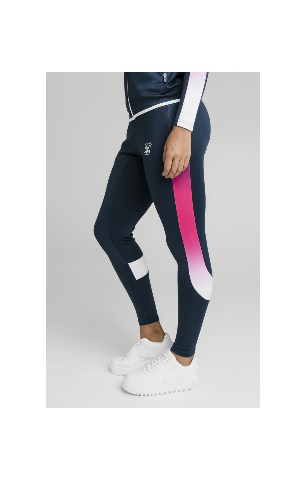 SikSilk Fade Stripe Athlete Track Pants - Navy