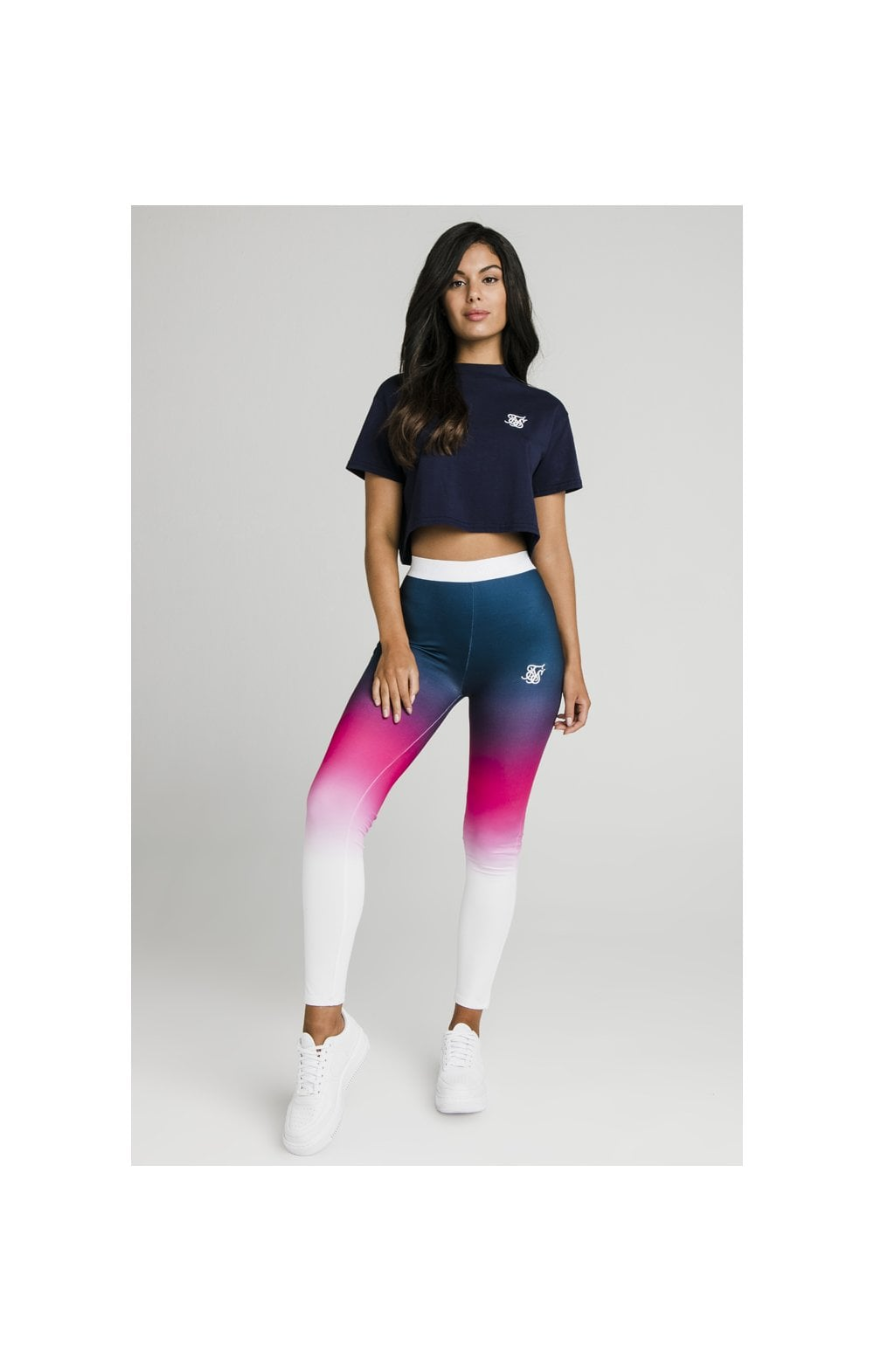 Charger l'image dans la galerie, SikSilk Fade Tape Leggings - Navy, Pink & White (2)