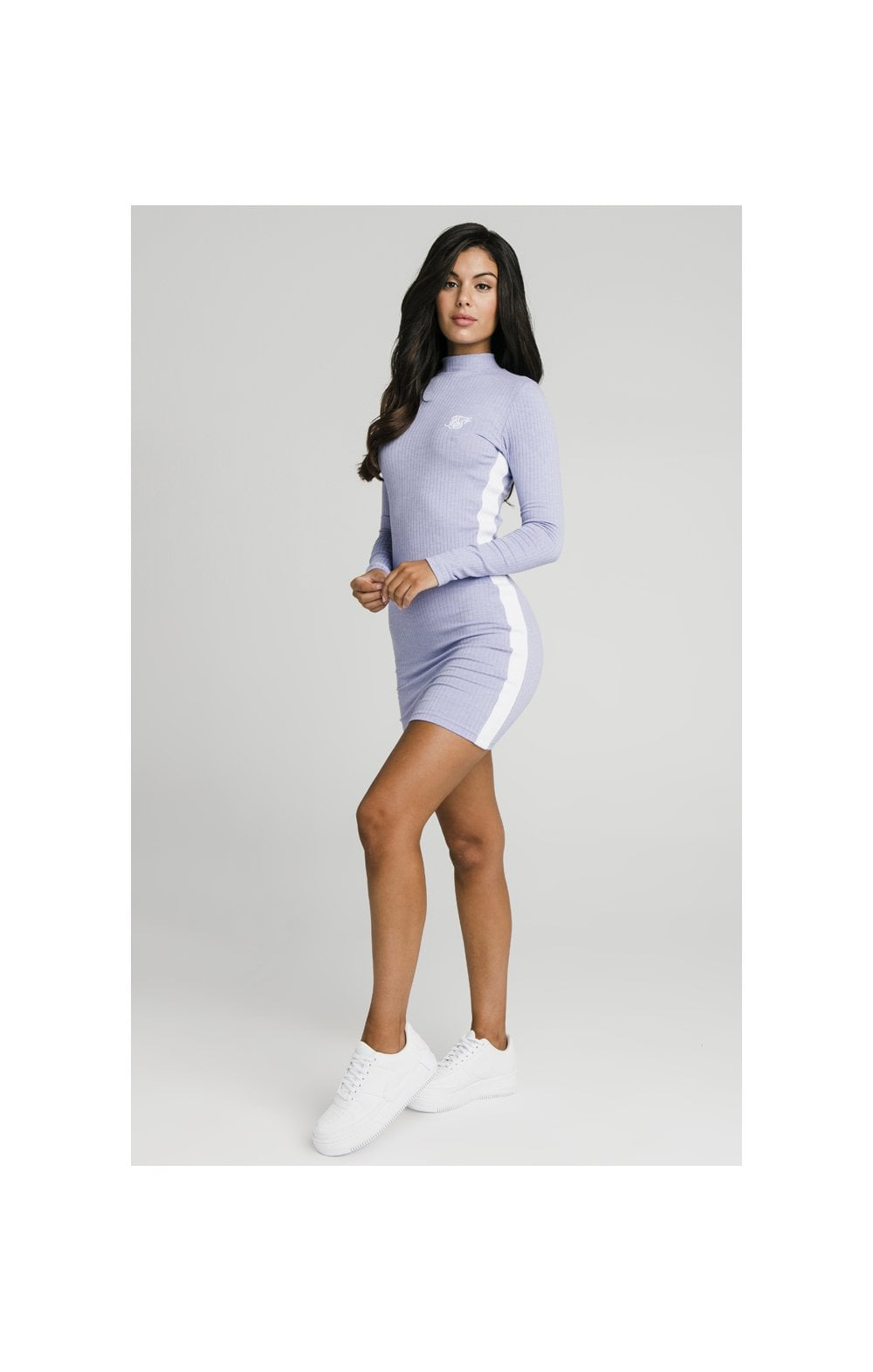 SikSilk Violet Rib Bodycon Dress - Violet