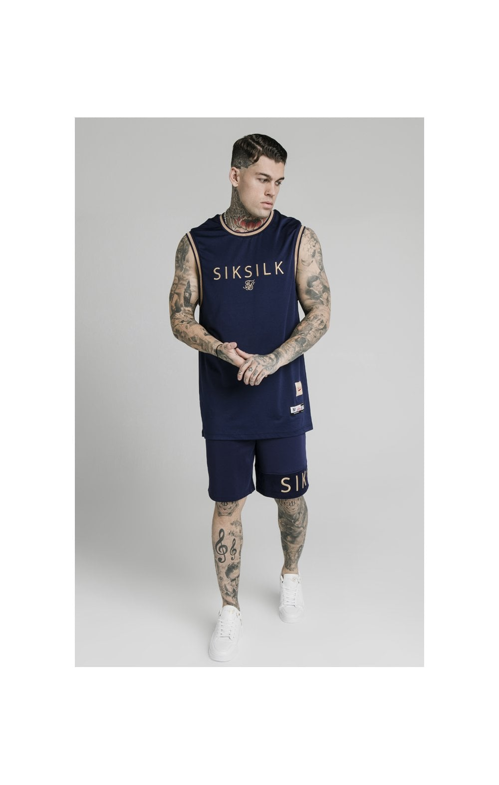 SikSilk Eyelet Panel Relaxed Fit Shorts - Navy Eclipse (4)