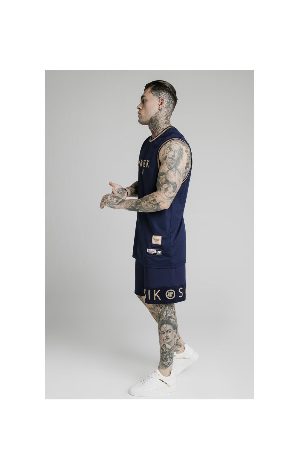 SikSilk Eyelet Panel Relaxed Fit Shorts - Navy Eclipse (7)