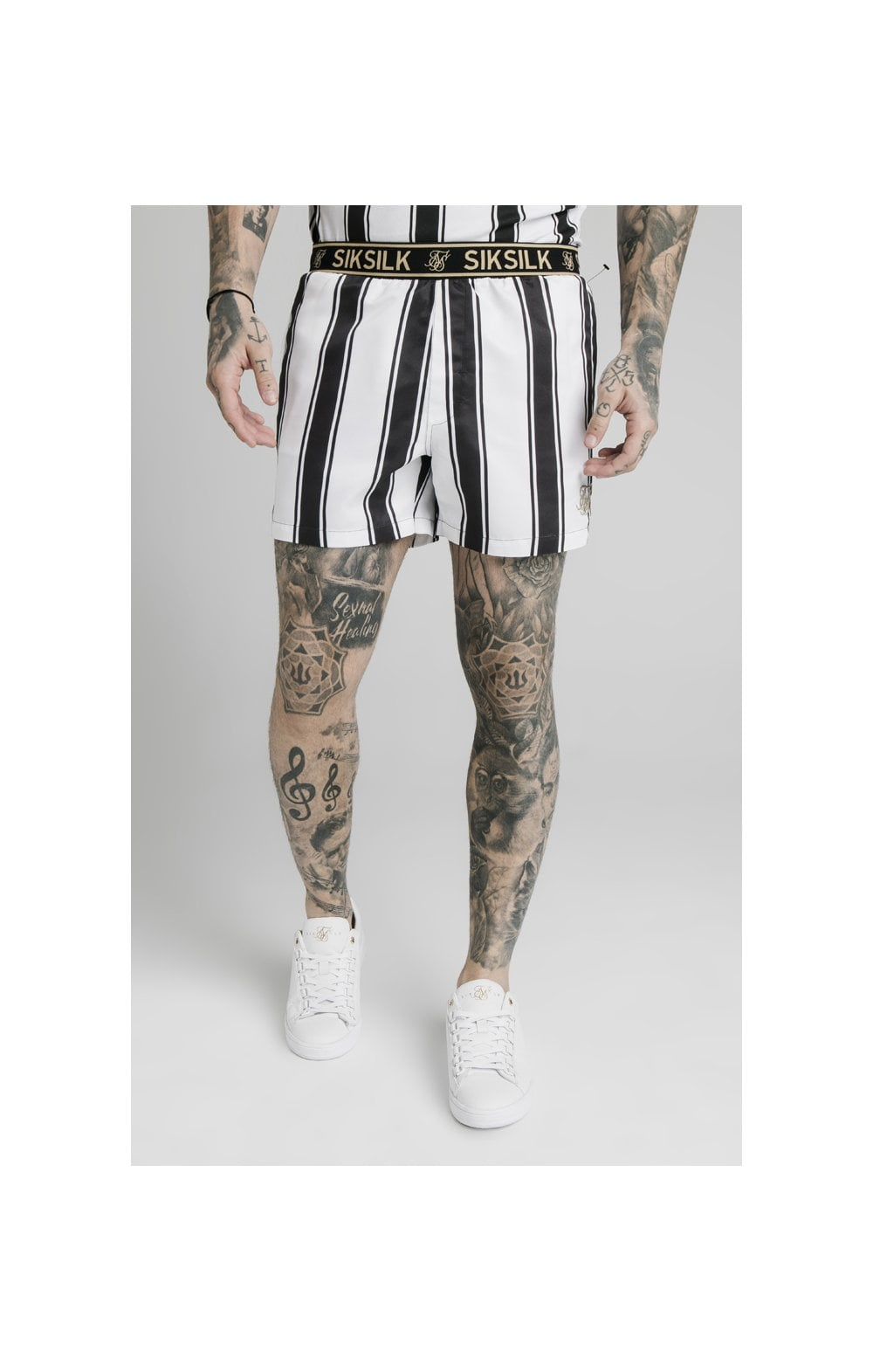 SikSilk Standard Swim Shorts - Black & White