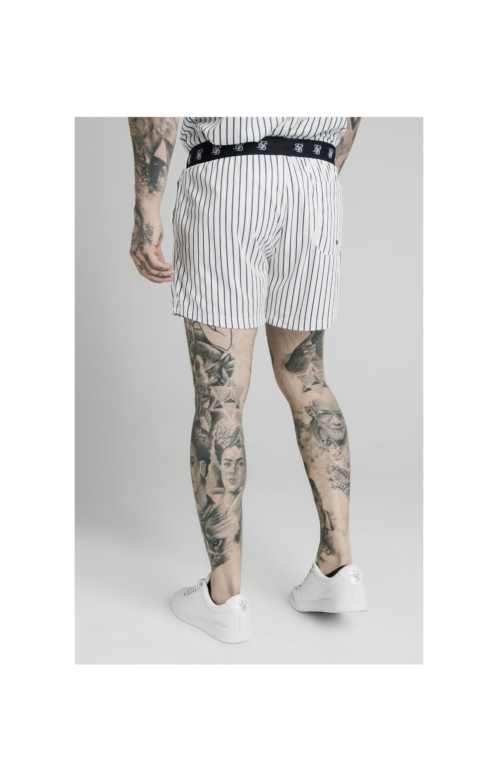 SikSilk Eyelet Elasticated Swim Shorts - White & Navy (1)