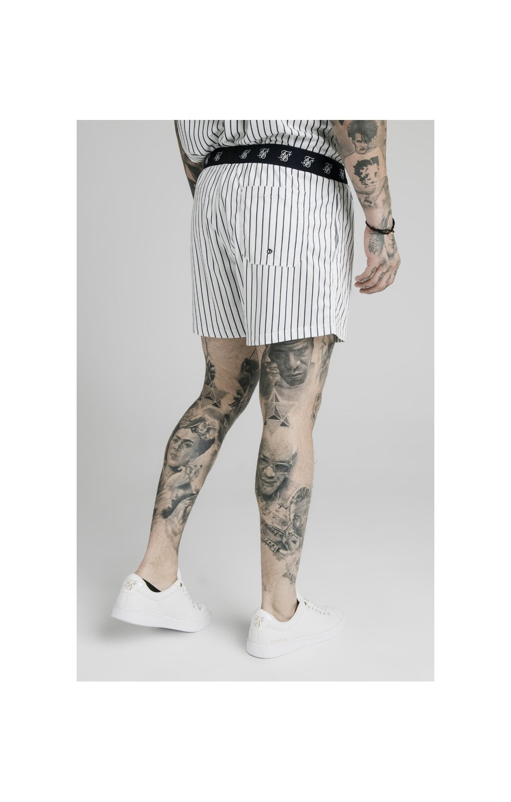 SikSilk Eyelet Elasticated Swim Shorts - White & Navy (2)
