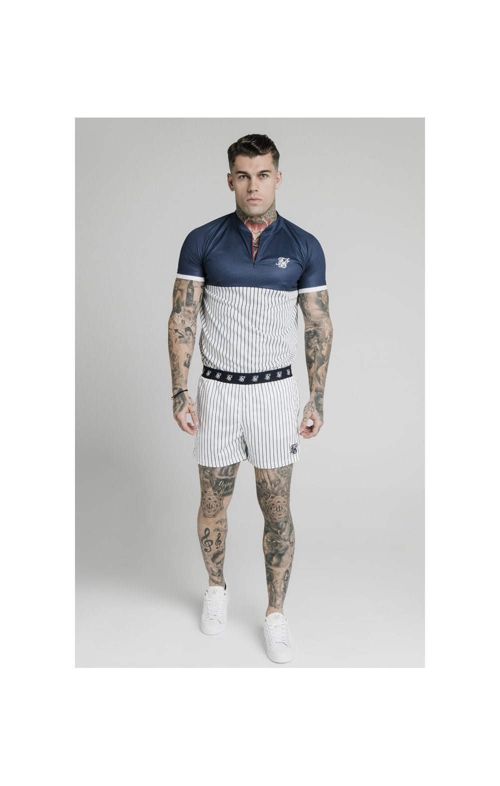 SikSilk Eyelet Elasticated Swim Shorts - White & Navy (3)